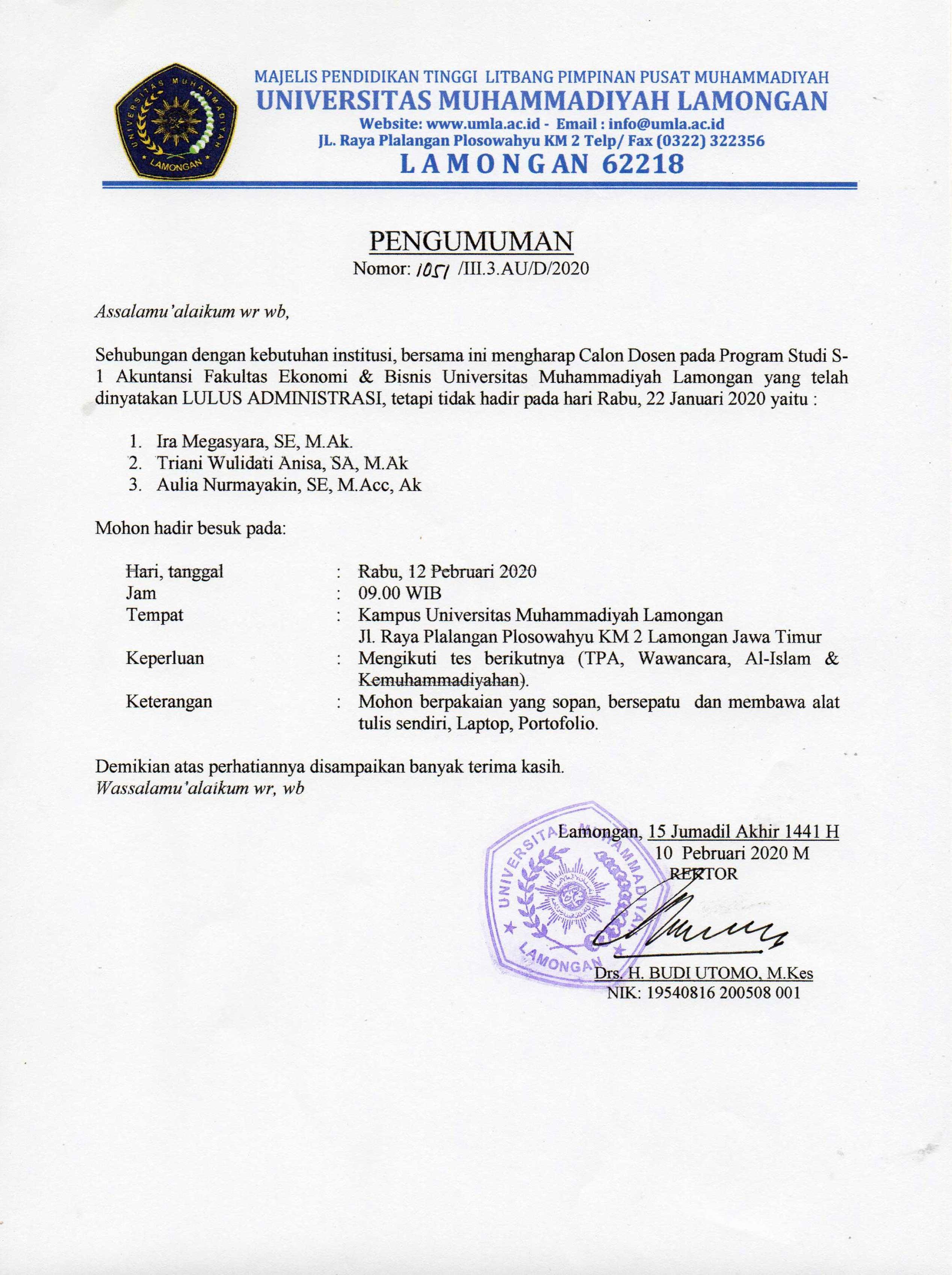 Pengumuman  Calon Dosen Program Studi S1 Akuntansi
