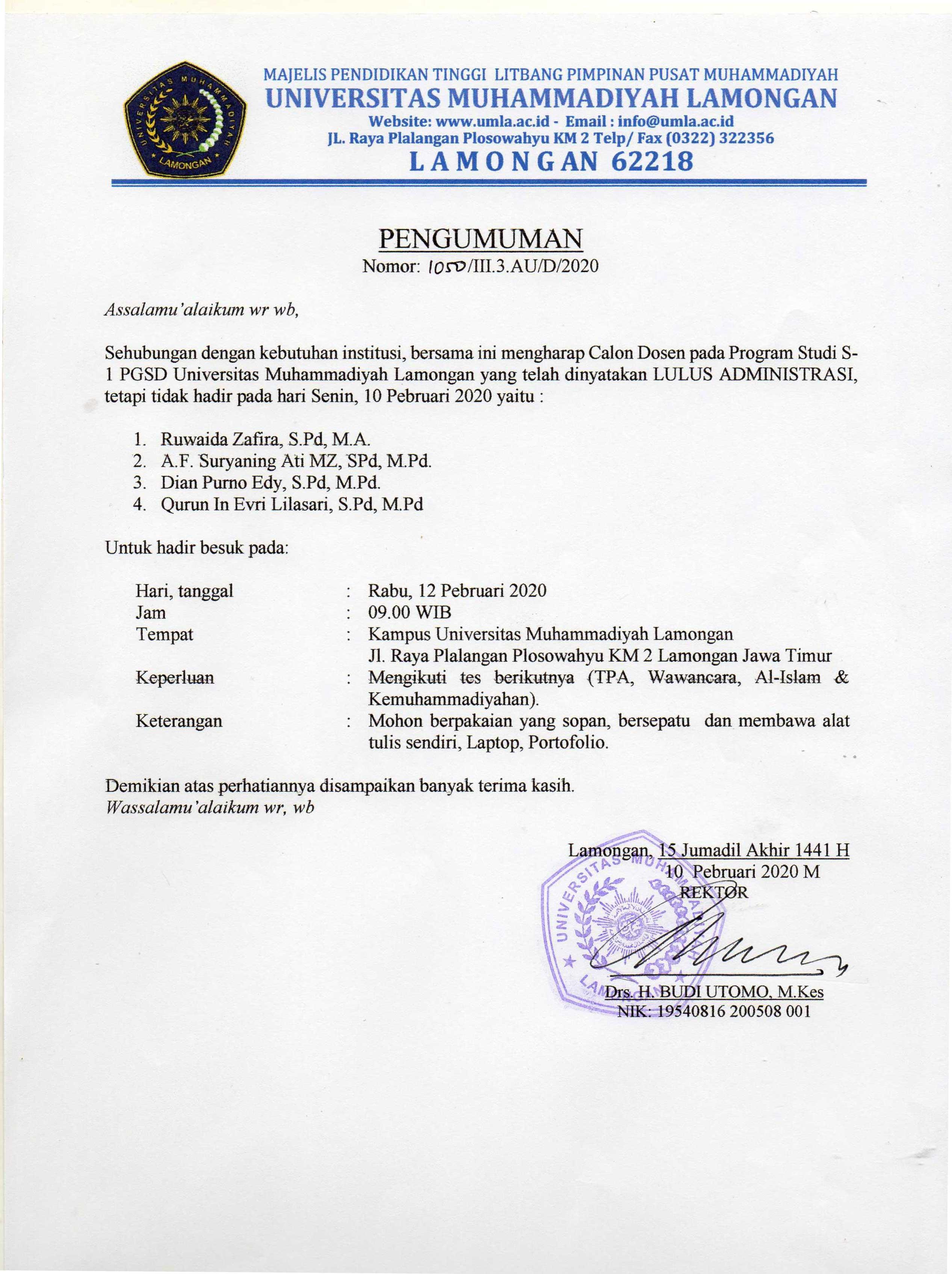 Pengumuman Calon Dosen Program Studi S1 PGSD