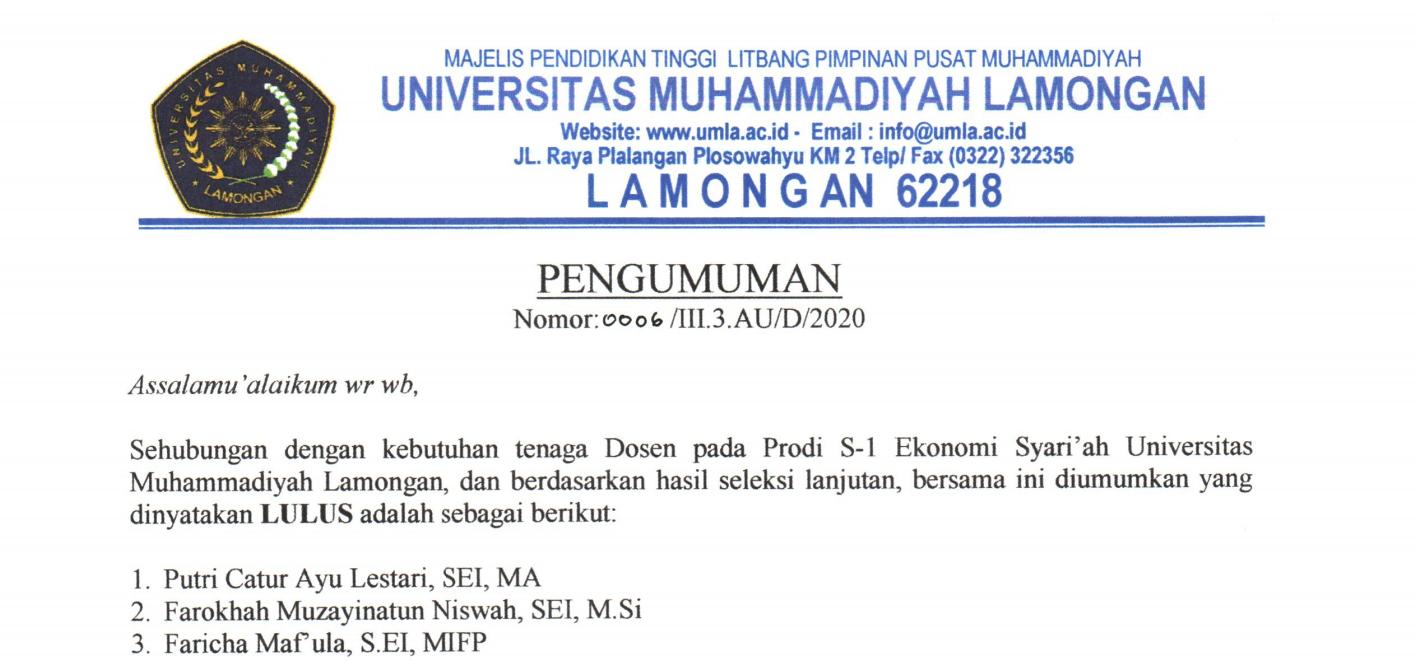 pengumuman yang lulus tes calon dosen S1 Ekonomi Syariah